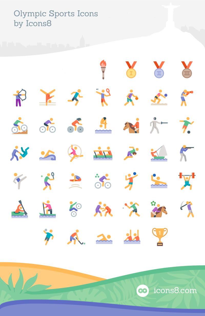 オリンピック競技のフラットアイコン