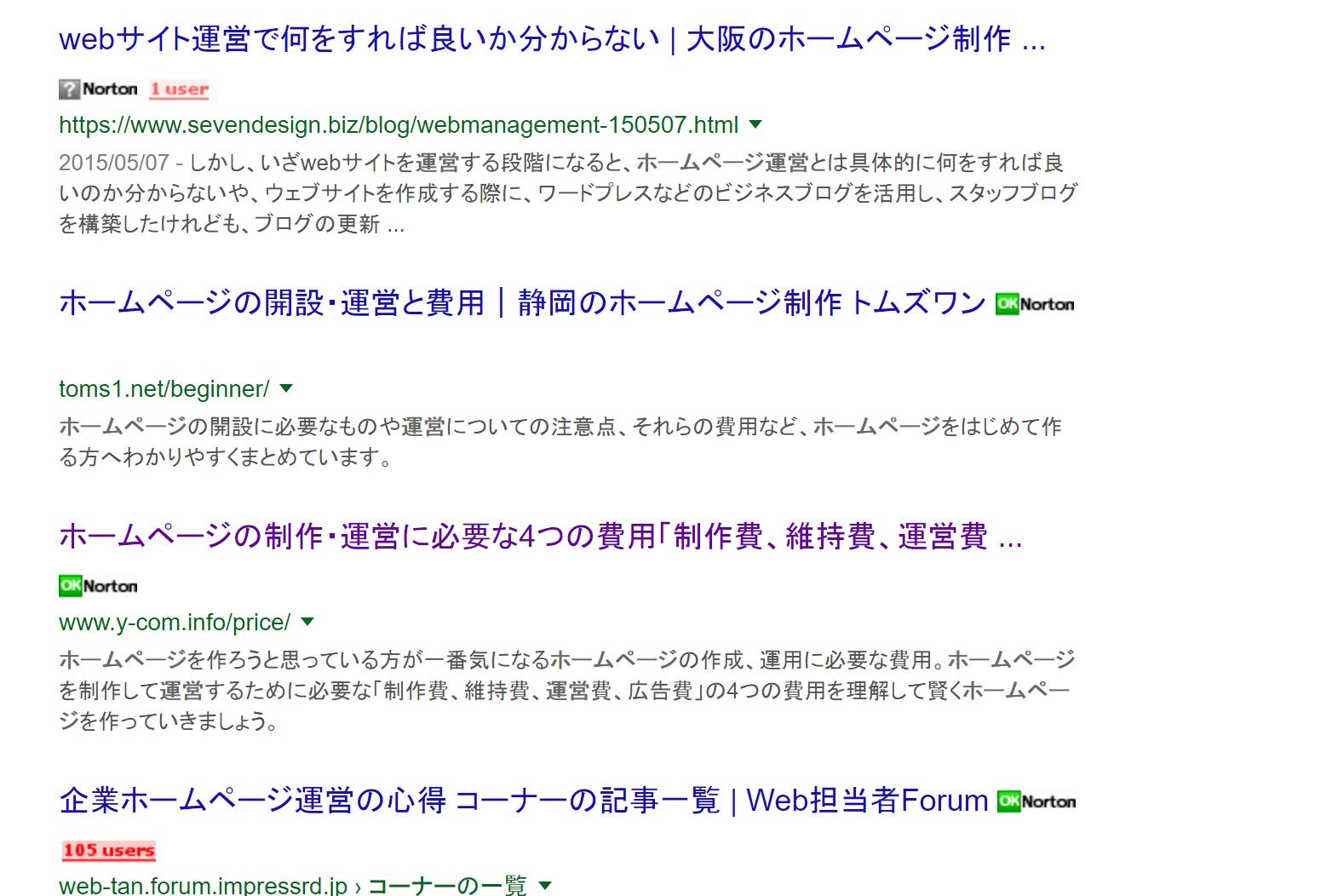 ホームページ 運営 検索キーワード