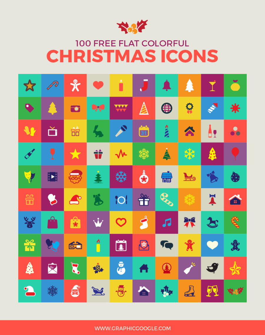 100個のかわいいフラットなクリスマス素材がダウンロードできる。あなた